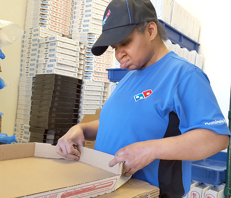 Karen Petty changes her world 'creating' pizza boxes